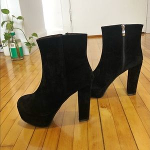 Velour Heeled Booties - Size 8